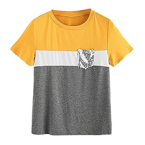 ebaf02530840 Toamen Sommer T-Shirt T-Shirt Damen Basic Oansatz Kurzarm Pailletten Tasche  Crop Tops