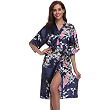 Aibrou Kimono Mujer Bata largo sexy y elegante con Pavo & Flores Pijamas Albornozes Camison mujer Suave,Cómodo,Sedoso y Agradable