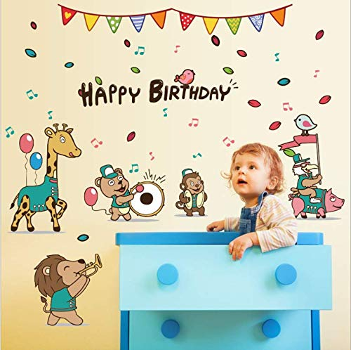 zbinbin Wand Stickersnew Animal Birthday Concert Kinderzimmer Veranda Krippe Kindergarten Hintergrund Dekorative 55X85 cm