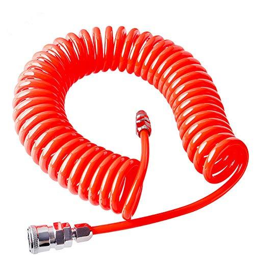 Yozhanhua Yozhanhua - Tubo flessibile a spirale per aria compressa con connettore ad alta pressione, rosso, rosso