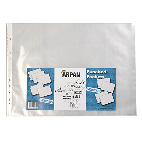 arpan-a3-landscape-strong-plastic-poly-pockets-wallet-sleeves-clear-finish-pack-of-26
