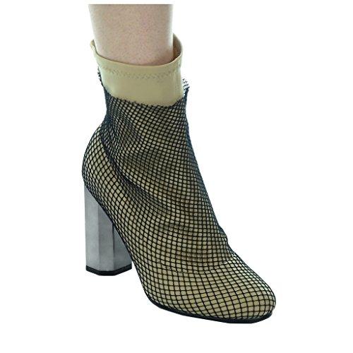 Angkorly souple bloc Chaussure résille haut Mode Talon femme Beige Bottine CM 9 cavalier rTr6Iq