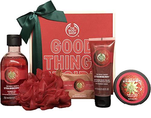 The Body Shop Strawberry Essential Selection - Strawberry Duschgel 250ml, Body Scrub 75ml, Body Butter 50ml, Seife 100g, Red Bath Lily - Geschenkset - Deutsche Version - Erdbeere Geschenkbox