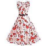 BringBring Damen Vintage 1950er Ärmelloses Neckholder-Kleid Faltenrock Boho Cocktailkleid (XL, White B)