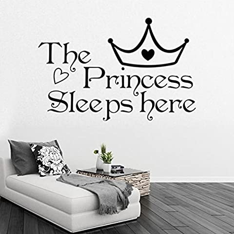 Eco-friendly Removable Heart Crown The Princess Sleeps Here Bedroom Decoration Stickers by HanDu