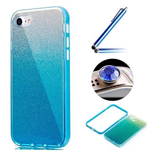 Etsue Glitzer Silikon Schutz HandyHülle für iPhone 6 Plus/6S Plus (5.5 Zoll) Laser Reflect Blue Light Bling TPU Hülle, Luxus Glitzer Glanz Silikon Handytasche Ultradünnen Weiche Durchsichtig Handyhüll Glitter,Blau