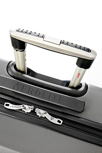 Aerolite Große Leichtgewicht ABS Hartschale 4 Rollen Trolley Koffer Reisekoffer Hartschalenkoffer Rollkoffer Gepäck , 79cm , Kohlegrau - 2