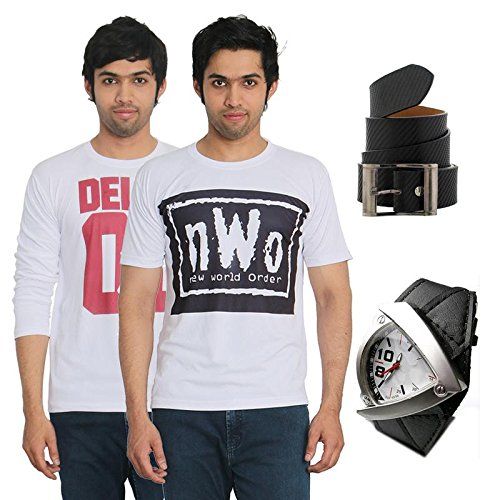 Fashion Bit 2 Multicolour Printed T-Shirts with a Belt and a Strap Watch Combo Pack