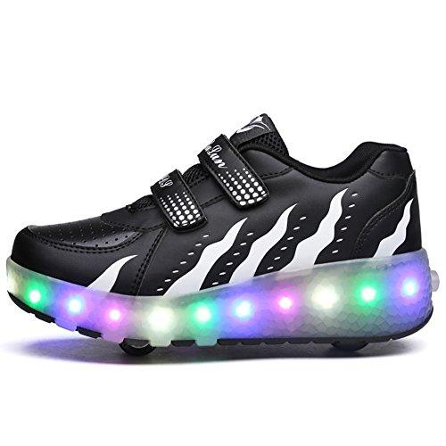 Scarpe roller per bambini unisex LED Light up Doppie ruote Scarpe da skateboard da skateboard Scarpe da skate roller da allenamento per sport all'aria aperta per ragazze (33 EU, Nero)