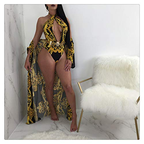 Women Floral Print One-Piece Monokini Swimwear Swimsuit Bikini with Cover Up Black XXL (Sieben-tage-cleanse)