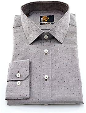 Seidensticker Herren Langarm Hemd UNO Super Slim braun / grau gepunktet 675130.27