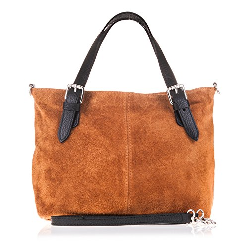 FIRENZE ARTEGIANI.Bolso Shopping Bag de Mujer Piel auténtica.Bolso Mujer Shopping Bag pequeño...