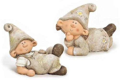 2 x Wichtel Zwerg Junge und Mädchen liegend im Set Gartenfigur aus Polystein grau braun 30 cm, Gartenzwerg witzige Figur als Deko für den Garten