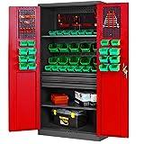 Werkzeugschrank TC002AM Metallschrank mit Schubladen, Stahlblech,3 Fachböden 185 cm x 92 cm x 50 cm (H x B x T) (anthrazit/rot)