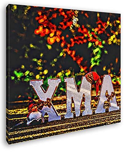 deyoli Weihnachtliche Grüße Format: 70x70 Effekt: Zeichnung als Leinwandbild, Motiv fertig gerahmt auf Echtholzrahmen, Hochwertiger Digitaldruck mit Rahmen, Kein Poster oder Plakat