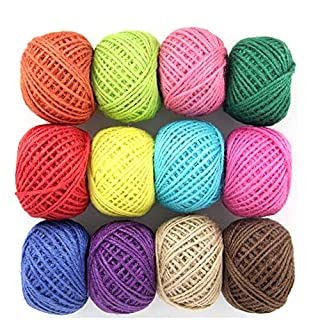 Colour Twine String, Jute String Natural Twine String Cord Rope Roll for Floristry Gifts DIY Arts&Crafts Decoration Bundling Garden and Recycling 2mm 3ply 327yards 12colors