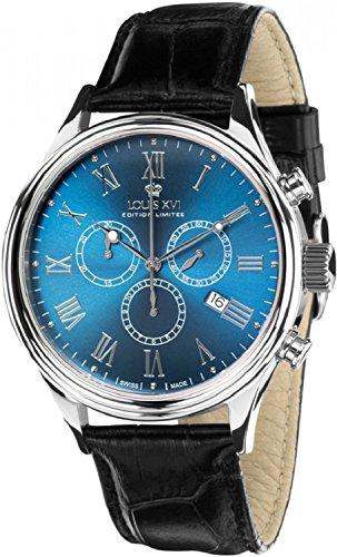 LOUIS XVI Herren-Armbanduhr Danton Silber Blau Römische Zahlen Chronograph 5 Jahre Garantie Analog Quarz echtes Leder Schwarz 487