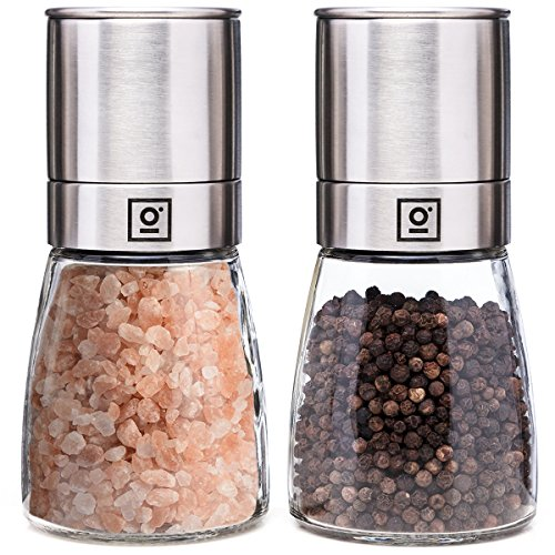 Salz und Pfeffermühle Keramikmahlwerk (verstellbar) I Manuelle Salz und Pfeffer Mühle aus Edelstahl & Glas I GARCON Salzmühle Set