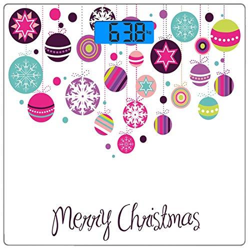 Precision Digital Body Weight Scale Weihnachten Ultra Slim gehärtetes Glas Personenwaage Genaue Gewichtsmessungen, bunte grafische Kugeln mit Retro-Schneeflocken-Ornamenten Feier Handschrift, Mul (Ornamente Schneeflocke Glas)