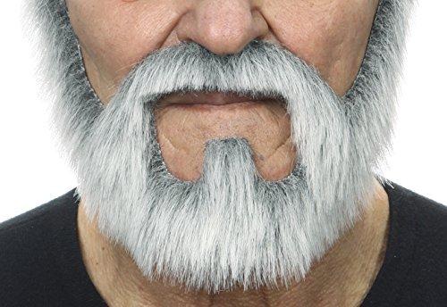 Mustaches Selbstklebende Neuheit On Bail Fälscher Bart Falsch Gesichtsbehaarung Kostümzubehör für Erwachsene Grau mit Weißer ()