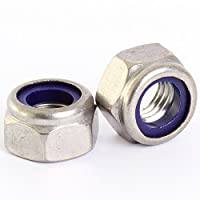 Bolt Base 6mm A2 Stainless Steel Nylon Insert Nyloc Nylock Lock Nuts M6 X 1.0mm Pitch - 50