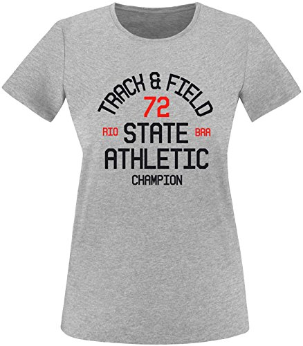 EZYshirt Track & Field Damen Rundhals T-Shirt Grau/Schwarz/Rot