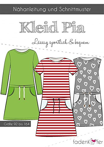 Stoffe Werning Schnittmuster Fadenkäfer Kleid Pia - Kinder Gr.92-164 Papierschnittmuster
