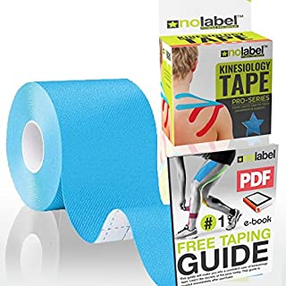 NO LABEL Black Kinesiology Tape - Pro Sports Tape 5m Medical Muscle Tape For Injury | Waterproof Body Tape