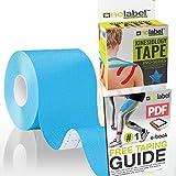 No Label Kinesiologie Tape Blau | Physio Tape | Body Tape | Sportstape | 5 cm x 5 m | Schutz + Schnelle Regeneration In Schulter Nacken Rücken Knie Knöchel & Ellenbogen | Latexfrei