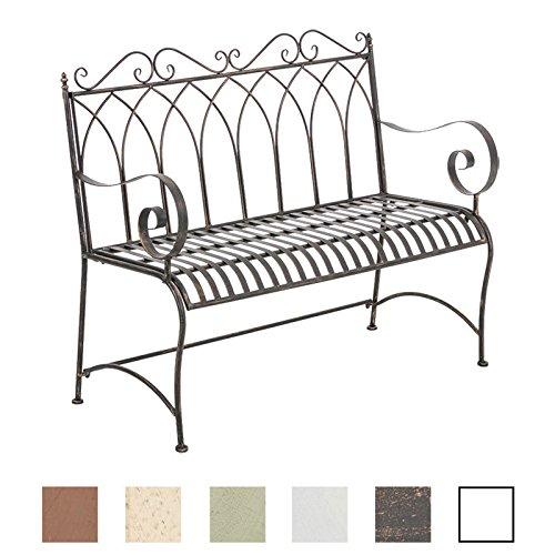 CLP Gartenbank DIVAN im Landhausstil, aus lackiertem Eisen, 106 x 51 cm - aus bis zu 6 Farben wählen Bronze