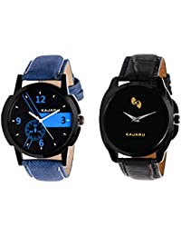 Kajaru KJR-6,8 Round Black Dial Analog Watch Combo For Men