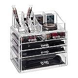 Relaxdays Make Up Organisateur de Maquillage avec 5 tiroirs, Rangement de Maquillage en Deux Parties pour Rouge à lèvres et Pinceau Transparent