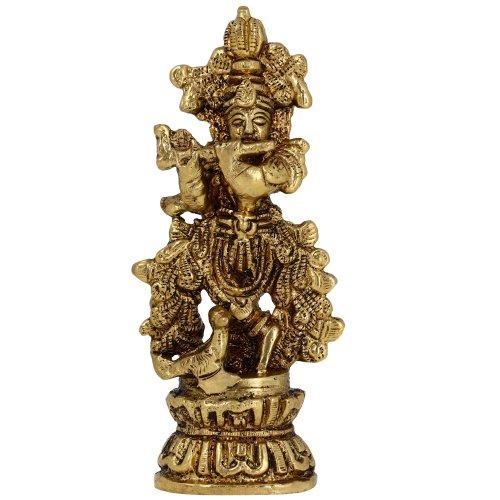 Shalinindia Skulptur Messing Metall religiösen Statue des Hindu-Gottes Krishna Querflöte und