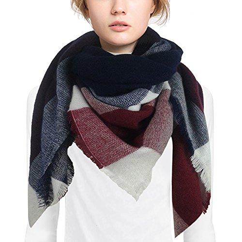 Danna Oversize tartan sciarpa di cachemire Pashmina Vintage avvolge per l'autunno inverno (stile-4)