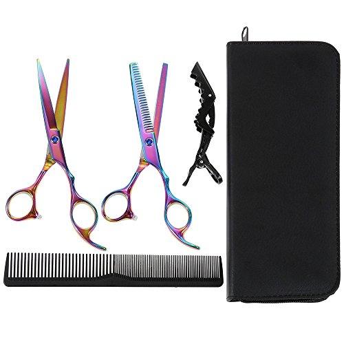 Lictin Haarschere Friseurschere Friseur Haarschere Haarscheren Set Haarschneideschere (schwarz Tasche)