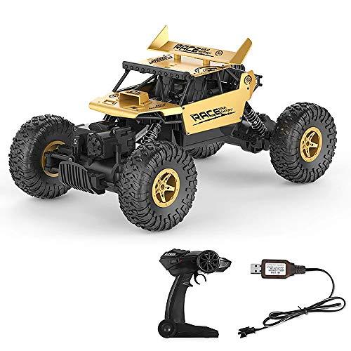 RC Auto Rock Crawler Ferngesteuertes Auto 1:18 Alloy 2.4G 4WD Geländewagen High Speed 360° RC Fahrzeug Auto Fahrzeug Spielzeug 12km/h Geburtstag Geschenk für Kinder (Golden)*