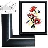 RAABEC Bilderrahmen für Bilder der Größe 40x50cm, Farbe Schwarz matt, ideal für Malen nach Zahlen Bilder der Größe 40x50cm z.B. von Schipper (mit Antireflex-Acrylglas)