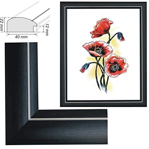 RAABEC Bilderrahmen für Bilder der Größe 40x50cm, Farbe Schwarz matt, ideal für Malen nach Zahlen Bilder der Größe 40x50cm z.B. von Schipper (ohne Glas)