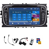 Double din 7 inch HD Touchscreen Car Stereo DVD Player GPS Ready Sat NAVI with Bluetooth USB/SD AM FM Radio car logo choosen audio headunit for Ford Focus Mondeo S-max Galaxy+Remote control+canbus