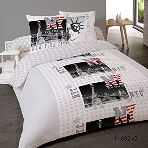 Housse de couette NEW YORK FREEDOM 240 x 220 + 2 Taies coton