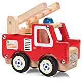 Traditional Quality Wooden Fire Engine and Crane Trucks With Moving Parts Fun Christmas Toys by Lizzy® (Fire Truck)