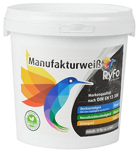 RyFo Colors Manufakturweiß 12,5l (Größe wählbar) - unsere Beste Profi Wandfarbe, sehr ergiebige zertifizierte Innen-Dispersion, Innenfarbe weiß, sehr hoher Weißgrad, Deckkraft Klasse 1, Nassabrieb Klasse 1