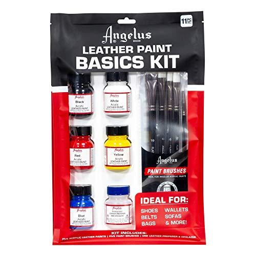 Angelus Starter Set Basics Kit Lederfarbe und Pinseln und Deglazer (Farbe Leder Angelus Schwarz)