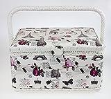 Cesta de costura con tapa en color crema con diseño de rosas impreso, bandeja extraíble, 1 unidad