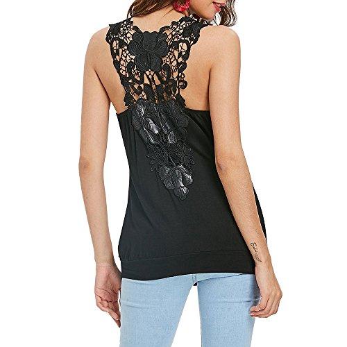 Damen Spitze Ärmelloses Oberteil Hemd, Appliques Backless V-Ausschnitt Lose Bluse, Bluestercool Frauen Kurzarm Top mit Kragen -