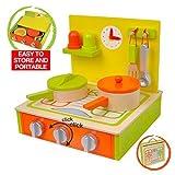 Kinderküche Spielküche aus Holz, Portable,11 teiliges Set mit Zubehör