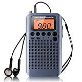 Radio Portátil Pequeña Mini Radio de Bolsillo Am FM Estéreo Sintonización Digital Radio con Altavoz de Sonido Reloj Despertador y Temporizador Auricular (Gris-NV)