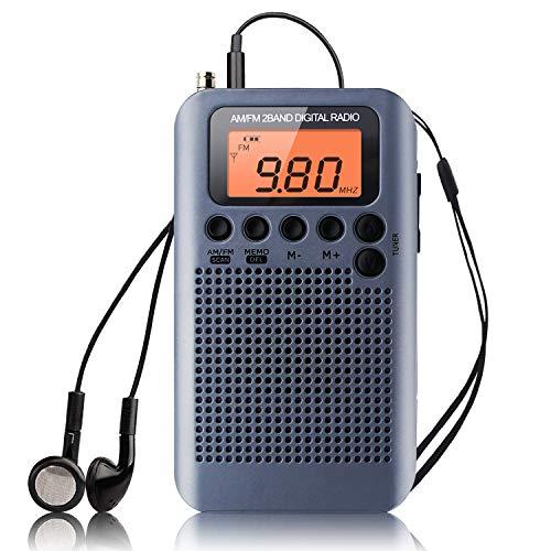Radio Portátil Pequeña Mini Radio de Bolsillo Am FM Estéreo Sintonización Digital...
