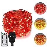 ErChen Strombetrieben Zweifarbige LED Lichterkette, 33 FT 100 LEDs-Plug in 8 Modi Dimmbare Kupfer Draht-Lichterketten mit Fernbedienung Timer für Innen Außen Weihnachten (Rot, Warmweiß)