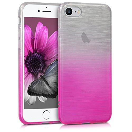 kwmobile Étui en TPU silicone élégant pour Apple iPhone 7 / 8 en petrol mat Aluminium brossé en horizontal rose foncé argenté
